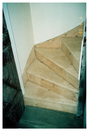 Wood floor stripping on staircase in Ware, Herts. Staircase stripping in Hertfordshire..