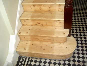 Wooden stairs stripping in Richmond. Wood flooring stripping on stairs in Richmond..