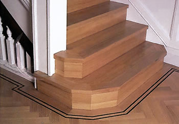 Oak parquet stair wood flooring. We laid wood parquet flooring on this staircase..